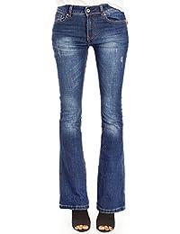 Bestyledberlin Damen Bootcut Jeans, Basic Schlaghose, Denim Hosen ausgestelltes Bein j93kw
