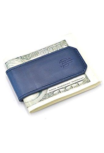 tianhoo Herren Magnetic Geld Clip Wallet Echt Leder RFID Cash Halterung Slim Compact Geld. Small 1-Blau -