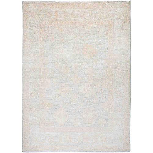 Solo Rugs Seidiger Oushak Handgeknüpfter Teppich, 122 x 183 cm, Leinen (Teppich 12 Persisch 15 X)