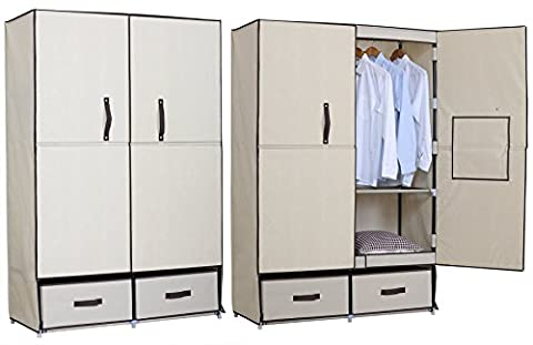 WOLTU Steel Pipe and Canvas Beige Clothes Storage Wardrobe Organiser Unit Rack Hanging Rail 4 Shelves and 2 Drawers,