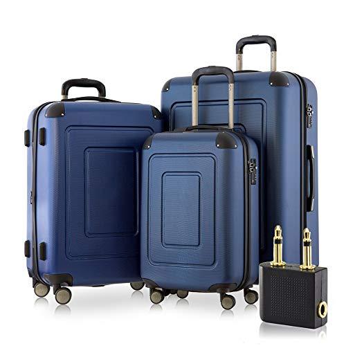 Happy Trolley - 3er Koffer-Set Trolley-Set Rollkoffer Hartschalen-Koffer Reisekoffer Lugano sehr leicht, TSA, (S, M & XL), Dunkelblau +Audio Adapter