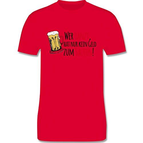 JGA Junggesellenabschied - Wer tanzt hat nur kein Geld zum Saufen! - Herren Premium T-Shirt Rot