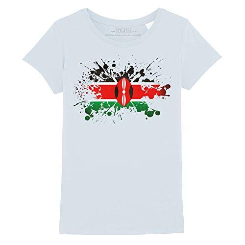 Stuff4® Mädchen/Alter 9-11 (134-146cm)/Hellblau/Rundhals T-Shirt/Kenia Flagge Splat - Kenia Flagge T-shirt