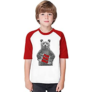 Free Bear Hugs Soft Material Baseball Kids T-Shirt by Benito Clothing - 100% Organic, Hypoallergenic Cotton- Casual & Sports Wear - Unisex for Boys and Girls 5-6 years