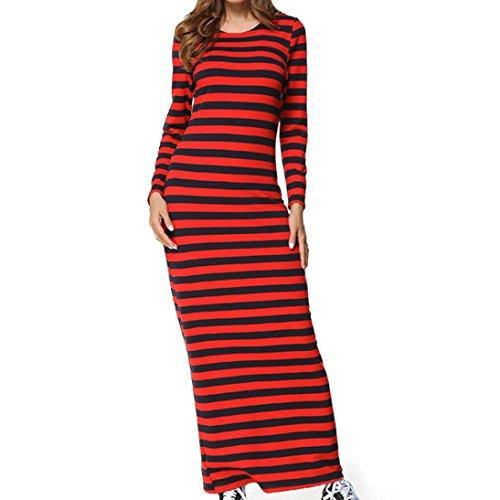 Kleider , Frashing Frauen Clubwear Party Langarm gestreiften Casual Knöchel-Länge Etuikleid Damen Sommerkleid Langarm Floral Print Böhmischen Strand Maxi Kleid (XL, rot)