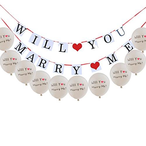 MagiDeal ''Will you marry me'' Bunting Banner Feier Party Hochzeit Geburtstag Hängende Girlande + 10pcs Luftballons / Ballons ''Will you marry me'' für Valentinstag Hochzeit Geburtstag Party