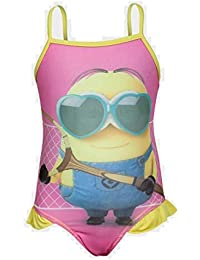 GIRLS MINION DESPICABLE ME PINK YELLOW SWIMSUIT AGE 6-8 NEW