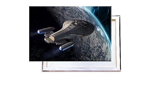 60x40 cm Kunstdruck auf Leinwand /• erstklassige Druckqualit/ät /• Dekoration /• Wandbild Unified Distribution Star Trek Voyager