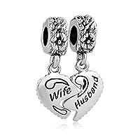 Aeneas Jewelry Wife Husband Charm Silver Plated Heart Best Friend Bead for Snake Chain Bracelet
