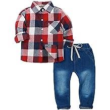 Zoerea 2 Pezzi Camicia a Quadri a Maniche Lunghe + Pantaloni Jeans con  Coulisse per Bambino 1cff28ba208
