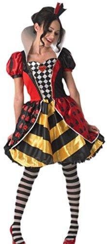 (Faschingsfete Damen Karnevalskomplettkostüm Herz Königin, L, Mehrfarbig)