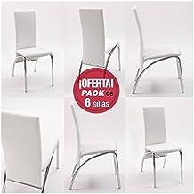Pack de 6 sillas de comedor Andros, tapizadas polipiel y patas cromadas (Blanco)
