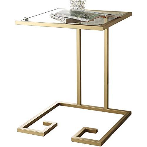 Eisen-glas Beistelltisch (A-Fort Tisch Einfache und Moderne Eisen Kunst Glas kreative Wohnzimmer kleine quadratische Couchtisch Ecktisch Beistelltisch (Farbe : Gold))