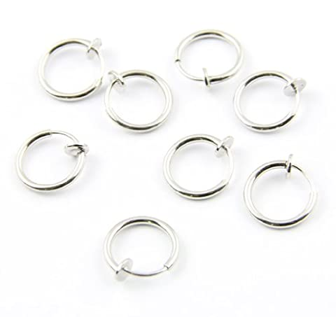8X Septum Piercing Ring Fake Spring Piercing silbrig Nasenpiercing Neu (T-post Clips)