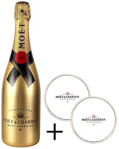 Moët & Chandon Brut Imperial Golden Sleeve Design Champagner Flasche mit Gravuroptik + Original-Untersetzer (1 x 0,75 l)