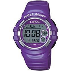 Lorus Watches R2323KX9 Women's Digital Quartz Watch - Stopwatch/Alarm/Compass/Time Zones - Purple Rubber Strap