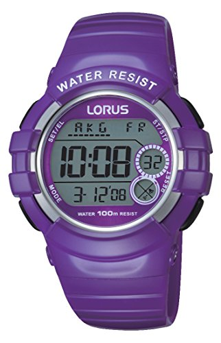 Lorus Watches R2323KX9 Women's Digital Watch - Stopwatch/Alarm/Time Zones, Purple PU Strap