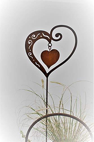 Rost Herz mit Innenherz 65cm Stecker - 2