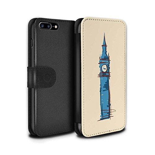 Stuff4 Coque/Etui/Housse Cuir PU Case/Cover pour Apple iPhone 8 Plus / Pyramides Design / Monuments Collection Big Ben / Londre