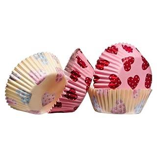 acropolebits FUNDAS Herz Design 60pcs Medium Cupcake-Förmchen aus fettdichtem Papier und attraktives Look