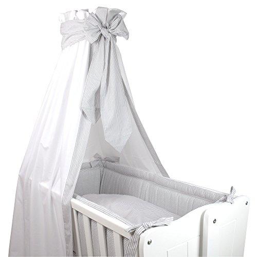 Sugarapple Wiegenset 4-teilige textile Ausstattung für Baby Wiegen mit Bettbezug 80x80, Kissenbezug 40x35, Nestchen und Betthimmel in Streifen grau