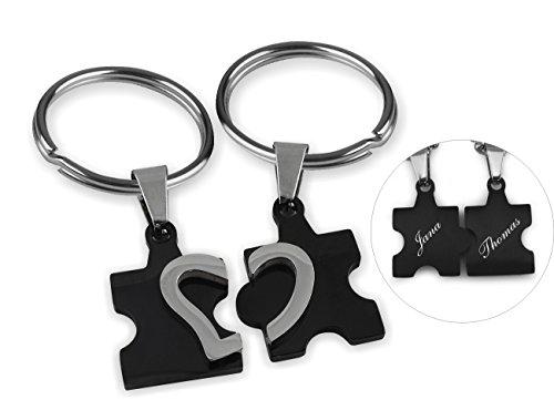 *Wunderschöner Partner Puzzle Herz Schlüsselanhänger schwarz inkl. Gravur Wunschname (Schwarz)*