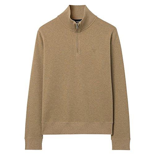 GANT Herren Pullover Sacker Rib Half-Zip Sweater Khaki Melange
