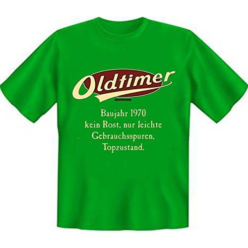 OLDTIMER,1970, leichte Gebrauchsspuren,Top-Zustand Baujahr Set Goodman Design® Funshirt Gr: Farbe: hellgrün Hellgrün