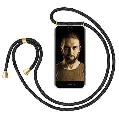 """ZhinkArts Handykette kompatibel mit Apple iPhone 7 Plus / 8 Plus - 5,5\"""" Display - Smartphone Necklace Hülle mit Band - Schnur mit Case zum umhängen in Schwarz - Gold"""