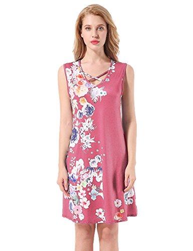 Yidarton Donna Estate Vestito Scollo a V Stampa Knielang Senza Maniche Beach Dress Sciolto Vestito Abito Da Sera Rose