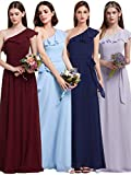 Ever Pretty Damen Elegant Knielang One Shoulder Rüschen Oblique Ausschnitt Brautjungfern Kleid 36 Größe Burgundy