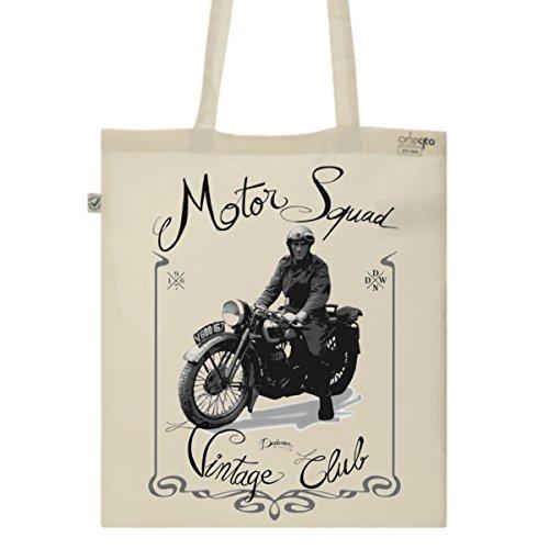 Tote Bag Imprimé Ecru - Toile en coton bio - Moto vintage