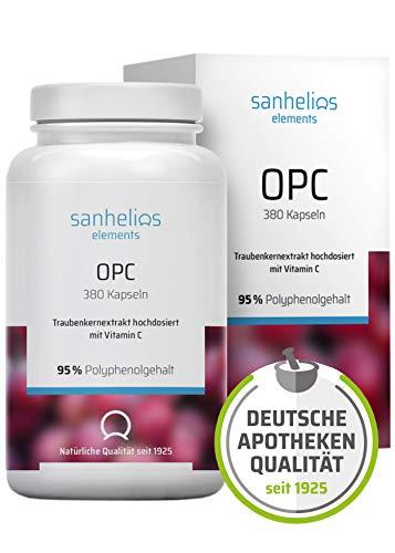 Sanhelios® OPC Traubenkernextrakt in Apothekenqualität | 600mg Premium-OPC je Tagesdosis | 380 Kapseln, 6 Monate | Vegan | Nur natürliche Zutaten | Hergestellt und geprüft in Deutschland