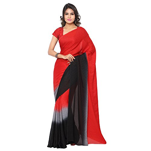GL Women's Red Crepe Shaded Saree with Blouse Piece  available at amazon for Rs.750