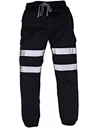 Men's 2 Band Hi VIS Viz Safety Jogging Bottoms Pants Joggers Safety Work Trousers