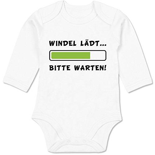 (Shirtracer Sprüche Baby - Windel lädt - 3-6 Monate - Weiß - BZ30 - Baby Body Langarm)
