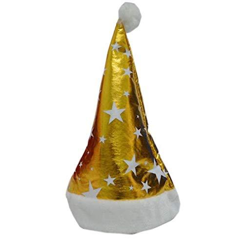 Amphia Weihnachtsmütze - Weihnachtsabend Weihnachtsmütze gelb Weihnachtsfeiertags-Stern-Druck-Weihnachtskappe für Weihnachtsmann-Geschenke Vlieskappe YE