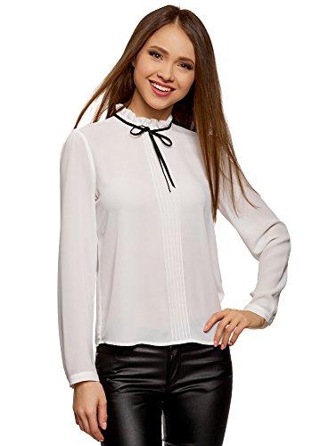 oodji Ultra Damen Bluse mit Dekorativer Schleife und Rüschen Am Kragen, Weiß, DE 40/EU 42/L