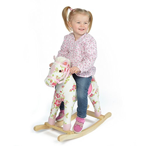 Pink Papaya | Rocking Horse Pinky| Rocking animal with different sounds: cowboy song| Head height approx. 70 cm | Shoulder height approx. 45 cm | Colour: white with floral pattern