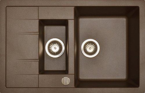 Preisvergleich Produktbild Granitspüle Küchenspüle in versch. Farben Einbauspüle Granit inkl. Drehexcenter, Ab- und Überlaufgarnitur reversibel ab 60er Spülenunterschrank (braun)