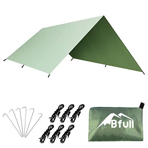 Bfull Wasserdichter Camping Zeltplanen Regen Fly, 3m x 3m Zelt Shelter Plane Hängematte Tarp, Tragbare Leichte für Outdoorer