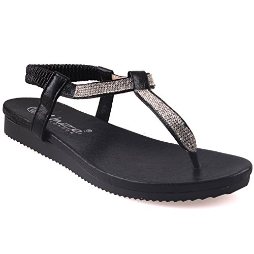 Unze Femmes Guri Flat Décoré Summer Sandals Noir