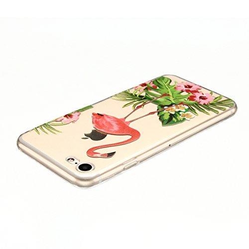 Cover iPhone 7 Custodia iPhone 7 Silicone Anfire Morbido Flessibile TPU Gel Case Cover per Apple iPhone 7 (4.7 Pollici) Ultra Sottile Clear Trasparente 3D Copertura Antiurto Bumper Protettivo Skin Car Rosso Coronato Crane