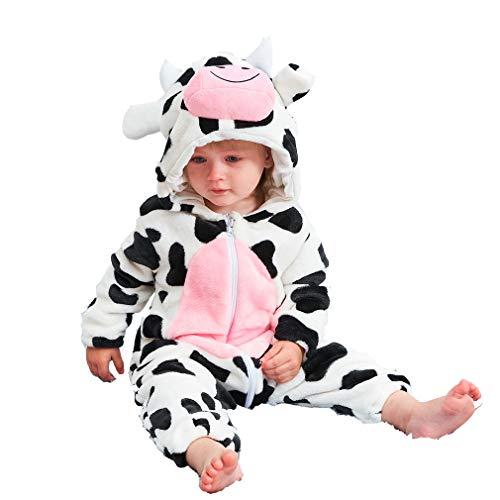 Hunde Girl Bad Kostüm - ZMH Baby Girl Clothes Cartoon Cow Anime Flannel Hooded Sleepwear Neugeborene Weihnachtslieder Rompers bebencht Winter Clothes Nachtschwärmer,70