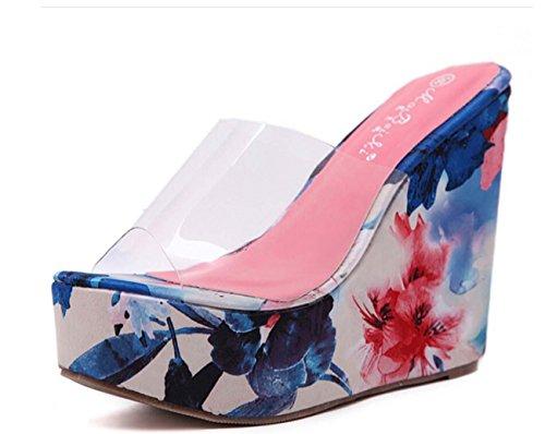 NobS Ladioes Chaussures Femme Chaussures Eté Chaussures Sandales Multicolore Mocassins Chaussures Blue