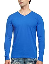 Tees Collection Men's V-Neck Full Sleeve Blue Color Cotton T-shirt