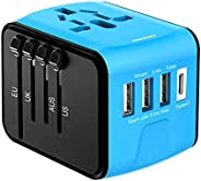 TOMSHOO Universal Travel Adapter 4 USB 2.4A Charger AC Power International Wall Charger