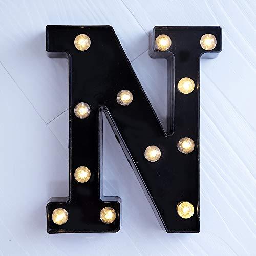 Foaky Schwarze LED Festzeltbeleuchtung mit 26 Alphabet beleuchtet Festzelt, Buchstaben für Nachtlicht, Hochzeit, Geburtstag, Party, batteriebetriebene Weihnachts-Lampe, Heim-Bar Dekoration N