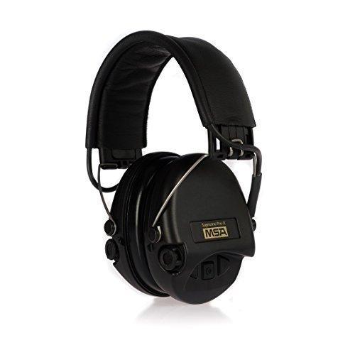 MSA Sordin Supreme Pro X - Standard Edition - Aktiver Profigehörschutz mit Schaumkissen, Ausführung: schwarzes Leder, schwarze Cups, AUX-Kabel