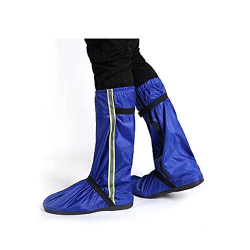 SWISSWELL Unisex Regenüberschuhe Outdoor Wasserdichte und Mehrweg Rutschfeste Schuhüberzieher Regenstiefel mit Reflektoren für trockene, saubere Schuhe auch bei Regen Schnee oder Staub, Blau XL